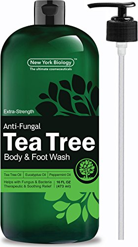 Antifungal Tea Tree Oil Body Wash – HUGE 16 OZ – 100% Pure & Natural - Extra Strength Professional Grade - Helps Soothe Toenail Fungus, Athlete Foot, Body Itch, Jock Itch & Eczema ()