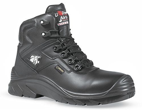 U-Power Drop Gore-Tex Metall Frei schwarz gemasert Leder Sicherheit Zehenschutzkappe Herren Stiefel Schwarz
