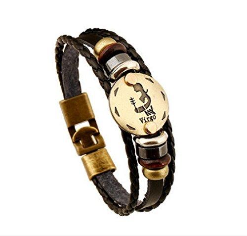 Fariishta Jewelry Handmade Virgo Constellation Genuine Leather Wrap (Foot Mounted Transformer)