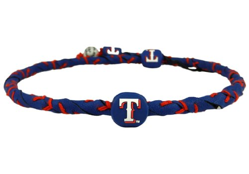 MLB Texas Rangers Blue Team Color Frozen Rope Baseball Necklace (Genuine Mlb Necklace)