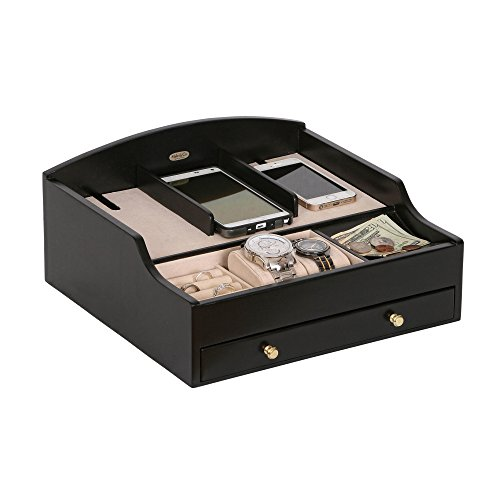 Mele & Co. Ricardo Wooden Charging Station (1 Drawer, Java Finish) (Ricardo Mele Charging Station)