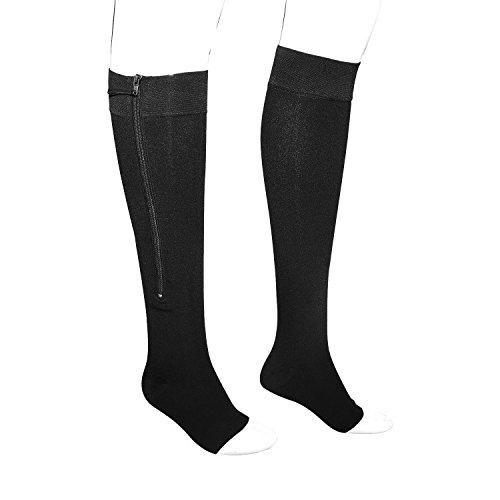 DREAM SLIM New Knee High Zipper Toe Open Compression Socks W192 (M, Black) Team Zipper