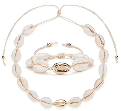 (Nackiy Handmade Shell Necklace Bracelet Set for Women Hawaiian Adjustable Seashell Necklaces(Golden Set))