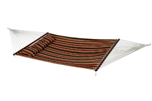 - Bliss Hammocks BQH-483 Quilted Hammock with Detachable Pillow, Brown Stripes, 55