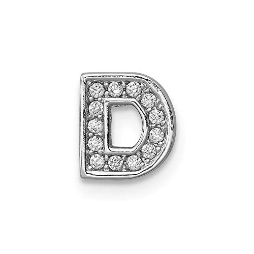 925 Sterling Silver Cubic Zirconia Cz Letter D Slide Pendant Charm Necklace Chain Initial Fine Jewelry Gifts For Women For Her ()