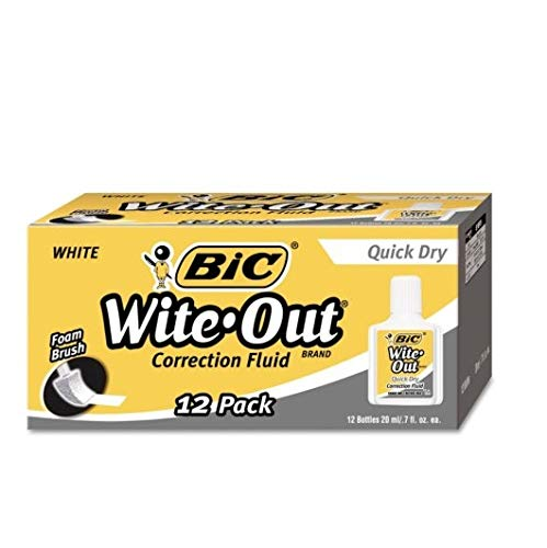 Wite-Out Quick Dry Correction Fluid, 20 ml Bottle, White, 12 Bottles by BIC (Image #1)