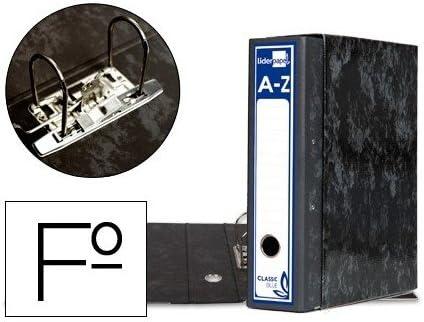 Archivador De Palanca Liderpapel Carton Forrado Folio Jaspeado Negro Con Caja Classic Blue