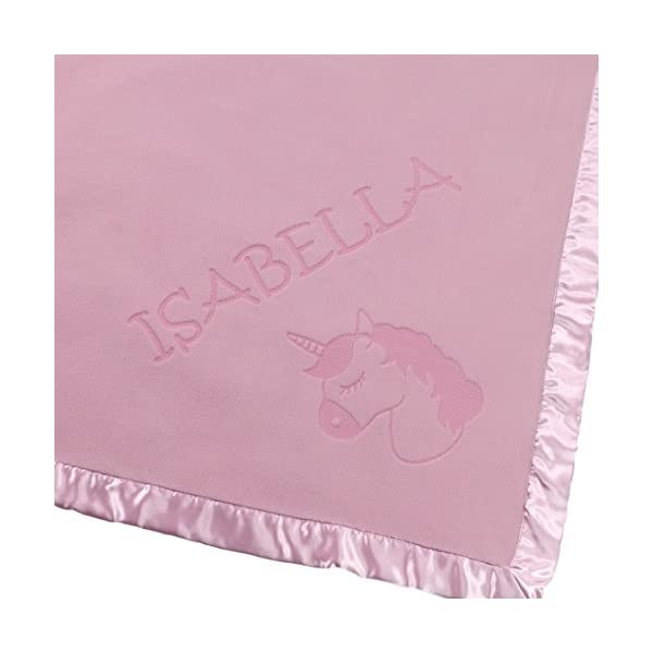 Custom Catch Personalized Unicorn Baby Blanket - Gift for Girl - Newborn or Infant - Pink or Blue (1 Line of Text) 5