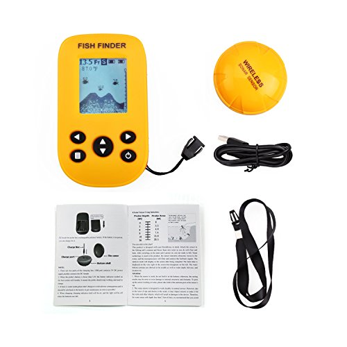 Gobing Wireless Sonar Sensor Fish Finders for Boats Humminbird Transducer , LCD Display ,Water Depth , Temperature Fishfinder