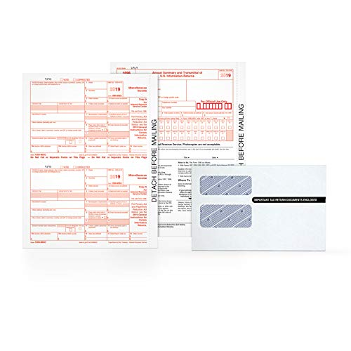 Adams 1099-MISC Kit for 2019, 5-Part Inkjet/Laser Sets for 50, 3 1096 Forms, 50 Peel & Seal Security Envelopes (TXA2250E) (1096 Forms Laser)