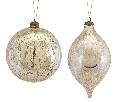 Set of 8 Ivory and Silver Antique Finish Spherical Ball and Drop Assorted Ornaments 10