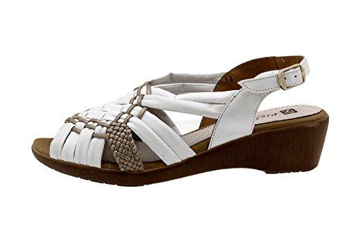 Calzado mujer confort de piel Piesanto 8563 sandalia cuña zapato cómodo ancho Hielo-Plata