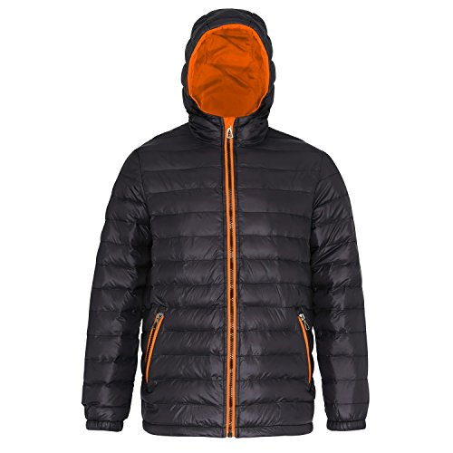 2786 Mens Hooded Water & Wind Resistant Padded Jacket Black/orange