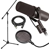 Shure SM7B Dynamic Vocal Mic w/ Mic Boom Stand, Pop Filter & 20' XLR Cable
