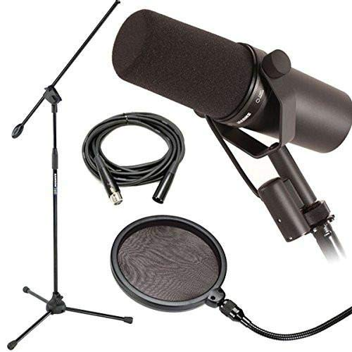 Shure SM7B Dynamic Vocal Mic Bundle w/ Mic Boom Stand, Pop Filter and 20ft XLR Cable