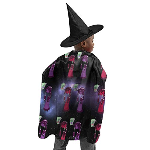 Alien-Zim Halloween Witch Set Short Cloak Role Play Costume for Kids Boys Girls Decorative Accessories One ()