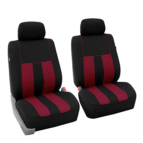 (FH GROUP FB036102 Striking Striped Seat Covers Airbag Compatible, Burgundy / Black Color- Fit Most Car, Truck, Suv, or Van )
