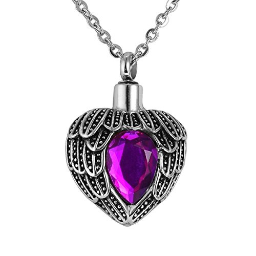 Valyria Angel Wing Birthstone Memorial Urn Necklace Stainless Steel Waterproof Cremation Jewelry,Purple
