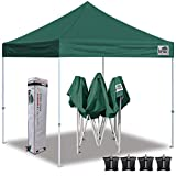 Eurmax 10'x10' Ez Pop Up Canopy Tent Commercial Instant Canopies with Heavy Duty Roller Bag,Bonus 4 Sand Weights Bags (Forest Green)