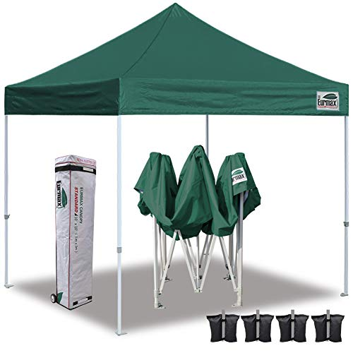 Eurmax 10'x10' Ez Pop Up Canopy Tent Commercial Instant Canopies with Heavy Duty Roller Bag,Bonus 4 Sand Weights Bags (Forest Green) ()