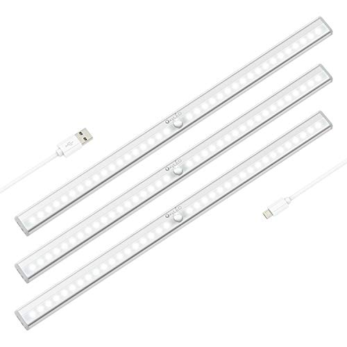 Wireless Under Cabinet Lighting, OxyLED 36 LED Motion Sensor Closet Lights, USB Rechargeable LED Kitchen Cabinet Lights, Motion Led Light Bar with Magnetic Strip, T-02Plus (3 Pack)]()