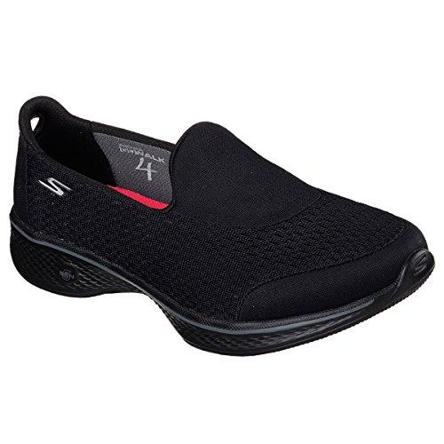 ジュニアドット復活METZUYAN SkechersレディースGo Walk 4 ' Pursuit ' Trainers (サイズ3 – 8 ) Memory Foam Slip On Pumps