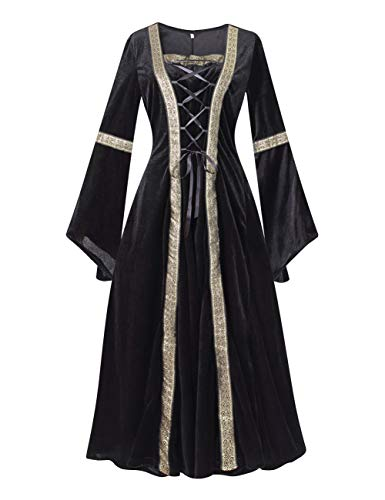 Colorful House Plus Size Medieval Dress, Renaissance Princess Costume for Women (XX-Large, Black (with edge on elbow))