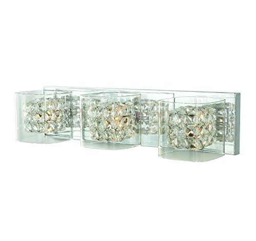 Crystal Cube 3-Light Polished Chrome Vanity Light - Crystal Polished Lighting