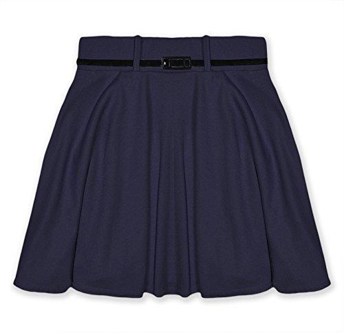 Girls Skater Skirt Kids Plain Party Black Belted New