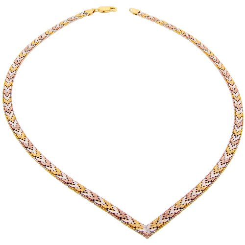 Sterling Silver Italian Tri-color Riccio V Necklace 5-Row 3/16 inch wide, 16 inch