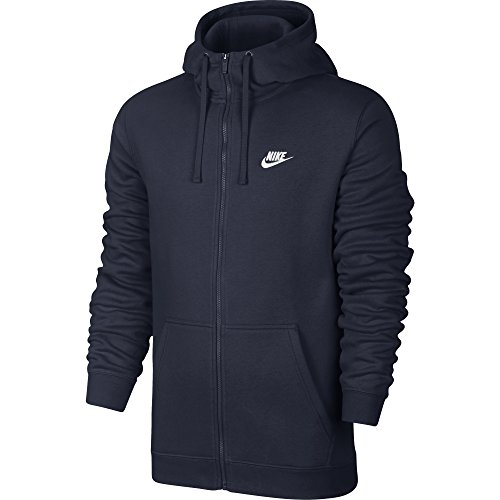 NIKE Mens Sportswear Full Zip Club Hooded Sweatshirt Obsidian Blue/White 804389-451 Size Medium