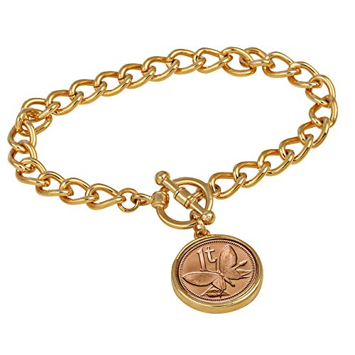 Women's Butterfly Coin Charm Bracelet - Butterfly Coin for Collectors with Goldtone Curb Style Chain and Toggle Clasp - High Polished 7 ½ inch Bracelet for Women | Elegant Gift Box Included