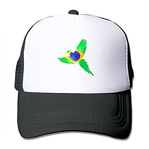 - LKSJSADJ Brazil Flag Bird Trucker Hat Black