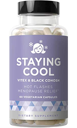 Staying Cool Hot Flashes & Menopause Natural Relief - Hormonal Weight Support, Night Sweats, Disturbed Sleep, Mood Swings --Vitex Chaste Tree & Black Cohosh Pills - 60 Vegetarian Soft Capsules