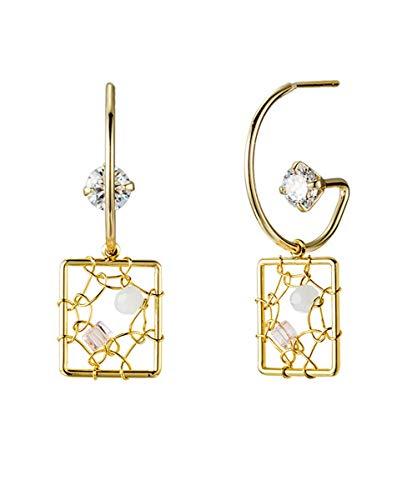 Rsupine CZ Half Hoop earrings Open Hoop Dangle Earrings With Rectangle Pendant (yellow gold)