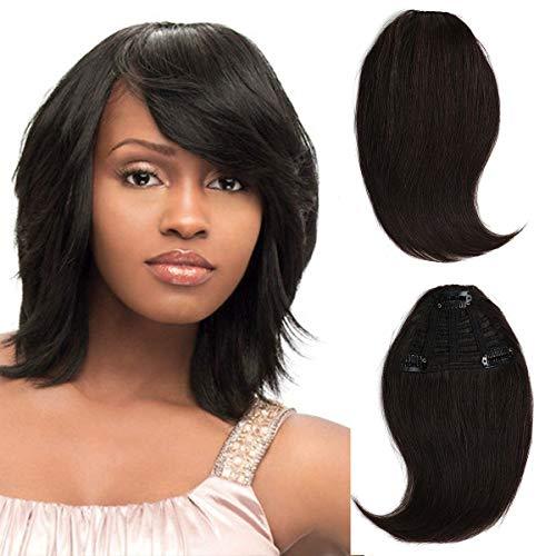 Brazilian virgin Human Hair clip in Bangs clip on Hair Extensions fringe Hair weave clip ins 8inch/20g Hairpieces (#2 bangs) (Human Clip On Bangs)