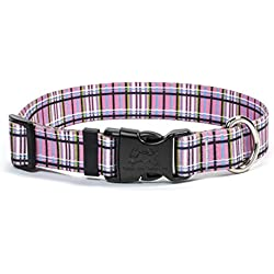 """Yellow Dog Design Tartan Pink Dog Collar with Tag-A-Long ID Tag System-Medium-1"""" and fits Neck 14 to 20"""""""