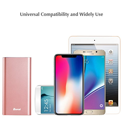 iPhone Charger, Bonai Portable Charger 20000mAh, Aluminum Polymer External Battery Pack 4.0A Max Lightning & Mirco Input 4-Port Output for iPhone 7 7 plus 6s 8 Galaxy S8 S7 Note 8 & Tablet -Rose Gold by Bonai (Image #7)