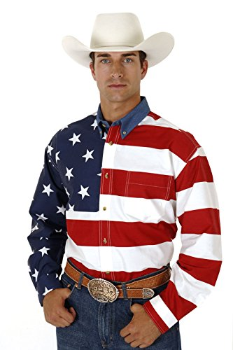 Roper Men's Stars & Stripes Pieced Flag Shirt L/S, Red, 2XT