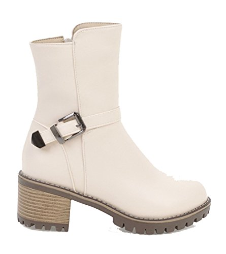 AgeeMi Zehe Niedriger PU Absatz Schnüren Stiefel Cremefarben Winter Shoes Schließen Damen BqApa