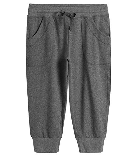 Weintee Women's Capri Joggers Jersey Sweatpants M Granite Heather