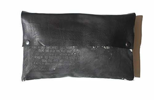 Noir Clutch Bag Artist's Canvas and Black Leather Hand Printed by artlab