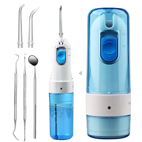 ACTOPP Water Flosser - Professional Rechargeable Electric Water Flosser with 3 tips and 3 dental tools - Portable & Cordless Oral Dental irrigator 2 Modes-Ideal for Kids and Braces
