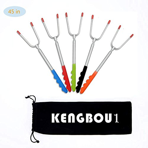 "KENGBOU1 Extending Marshmallow Roasting Sticks, 5 Piece 45"" Telescoping Smores Skewers & Hot Dog Fork with Carry Bag, Best Patio Fire Cooking Accessories for Campfires, BBQ, Bonfires by KENGBOU1"