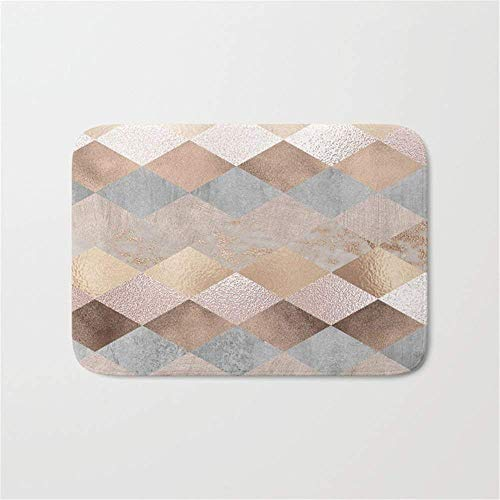 Roses Argyle (Brecoy Copper and Blush Rose Gold Marble Argyle Door Bath Mat 23.6