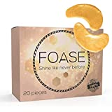 Collagen Under Eye Patches with 24K Gold is the Best Hyaluronic Treatment Mask for Dark Circles, Eye Bags and Puffiness – 100% Natural Pads for Aging, Wrinkles and Fine Lines - 20 Pack - Added Tweezer