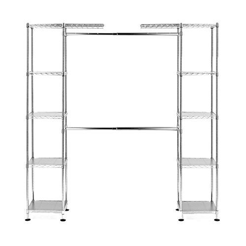 Seville Classics Double-Rod Expandable Clothes Rack Closet Organizer System, 58