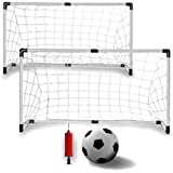 Sports Soccer Goals with Soccer Ball and Pump For Kids (Set of 2)