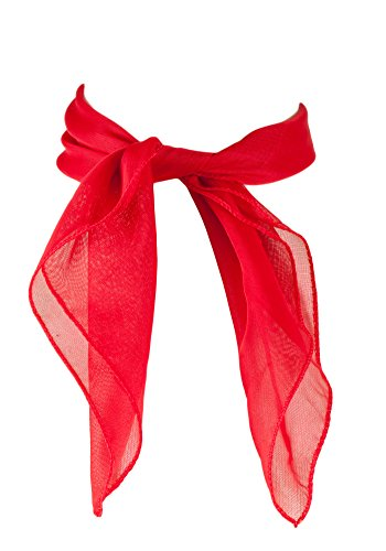 Sidecca Classic Chiffon Square Scarf-Red (Can Can Outfit Fancy Dress)