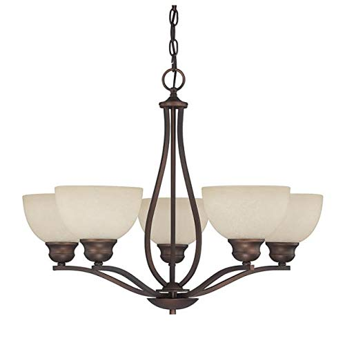 Capital Lighting 4035BB-207 Chandelier with Mist Scavo Glass Shades, Burnished Bronze Finish
